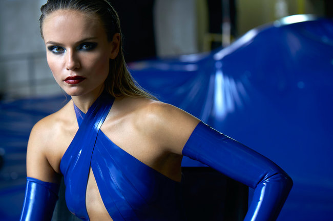 Natasha Poly Blue Latex Dress And Gloves on Leather Belts Mens Dress