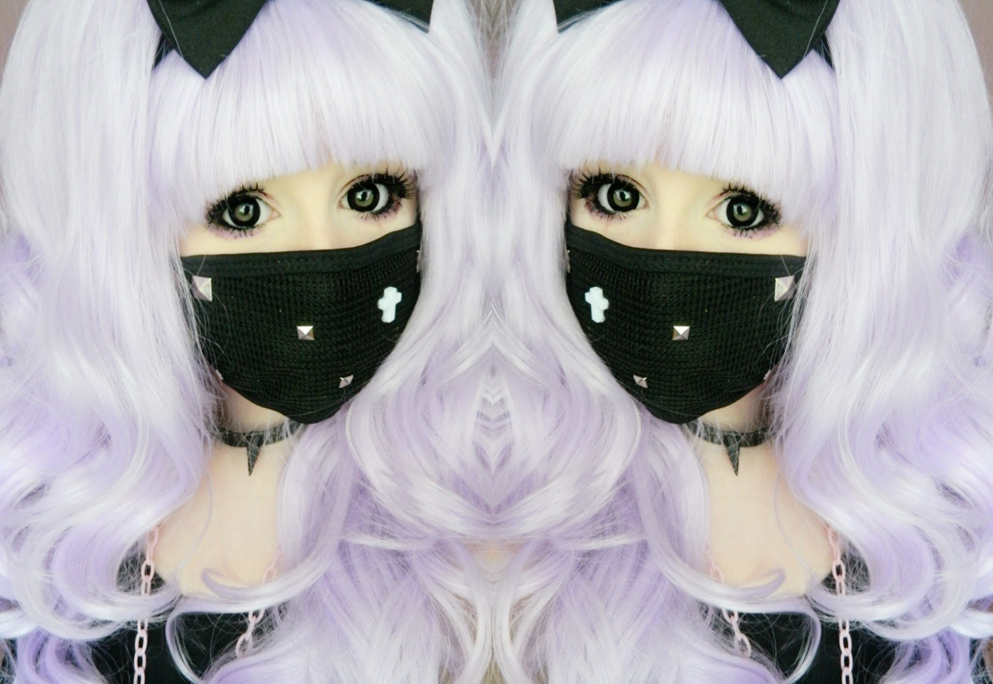 Diy Pastel Goth Facemask With Gold Pyramid Studs Jpg