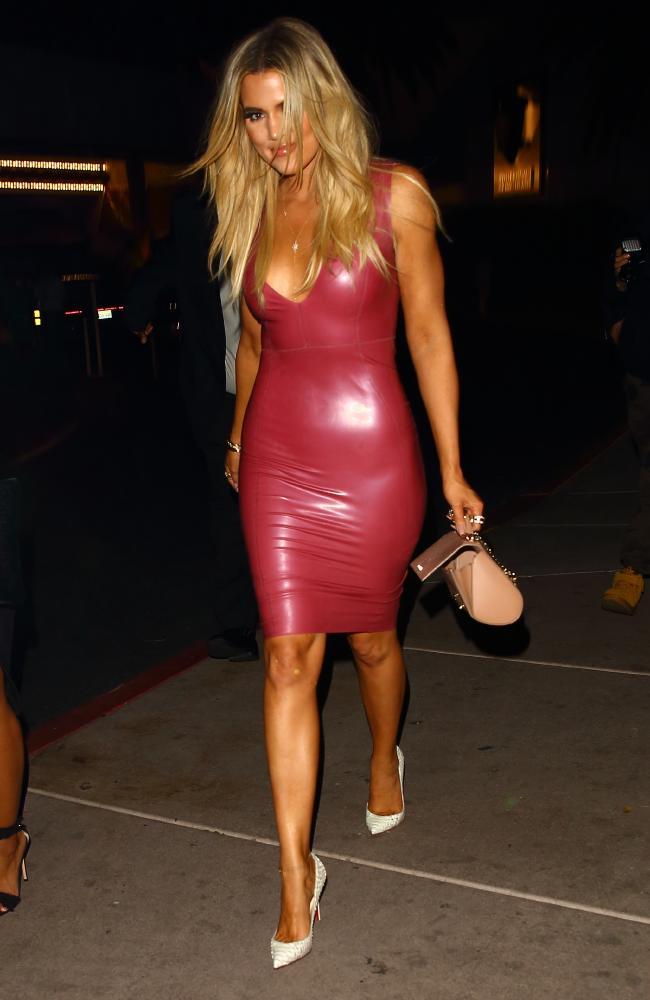 Kloe Kardashian Red Latex Dress