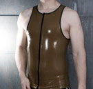 Front view of a finished mens latex tanktop thumbnail image.
