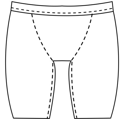 Mens custom bike short pattern for use with latex, vinyl, or other fabrics.