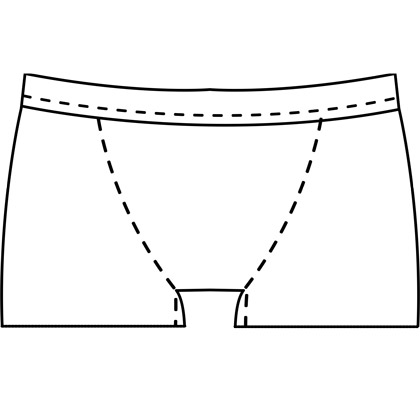 Mens custom boxer brief pattern for use with latex, vinyl, or other stretch fabrics.