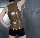 Rear view of mens latex tanktop made from a custom pattern thumbnail image.