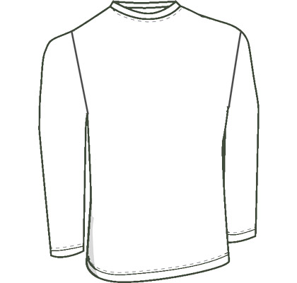 Mens custom long sleeve shirt pattern for use with leather, stretch pleather, vinyl, latex, or other stretch fabrics.