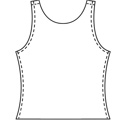 Mens custom tank top pattern for use with latex, vinyl, or other 4-way stretch fabrics.