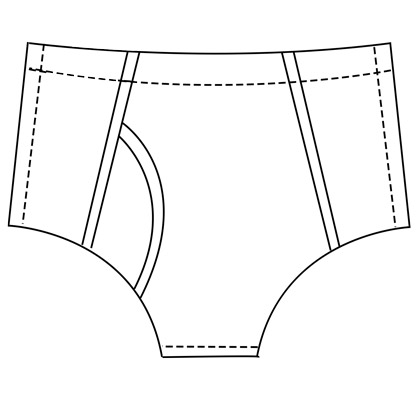 Mens custom y-brief pattern for making latex underwear.