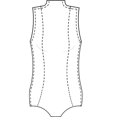 Womens custom princess cut bodysuit for use with stretch fabrics.