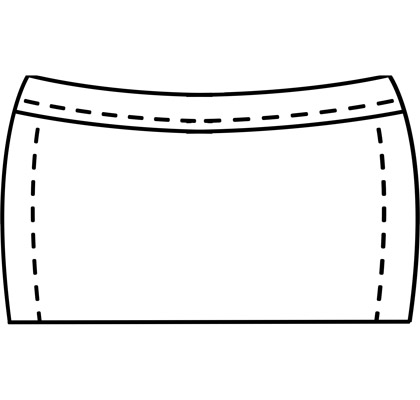 Womens stretch mini-skirt pattern for use with latex or other stretch fabrics.