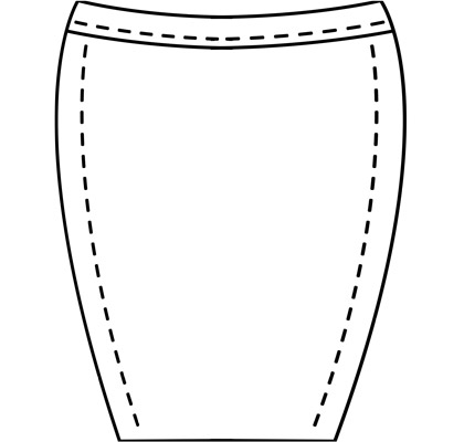 Womens custom pencil skirt pattern for use with leather, stretch pleather, vinyl, latex, or other fabrics.