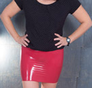 DIY red latex mini skirt thumbnail image.