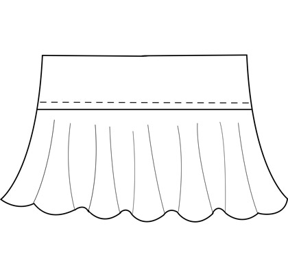 Womens custom ruffle skirt pattern for use with latex, vinyl, or other 4-way stretch fabrics.