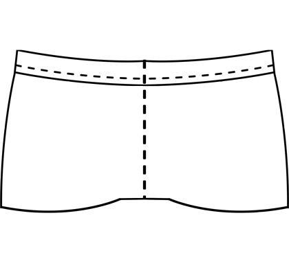 Womens custom short-shorts clothing pattern for use with latex, vinyl, or other 4-way stretch fabrics.