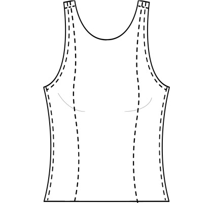 Womens custom princess cut tank-top pattern for use with leather, stretch pleather, vinyl, latex, or other stretch fabrics.