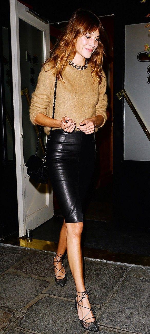 Alexa Chung black leather skirt