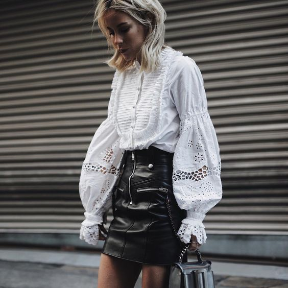 Faux leather mini skirt with zipper details