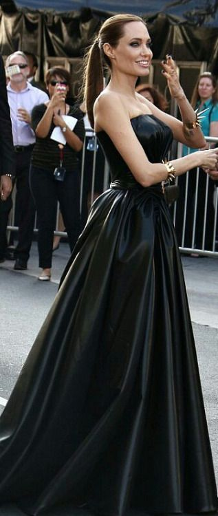 Angelina Jolie - long flowing vinyl dress