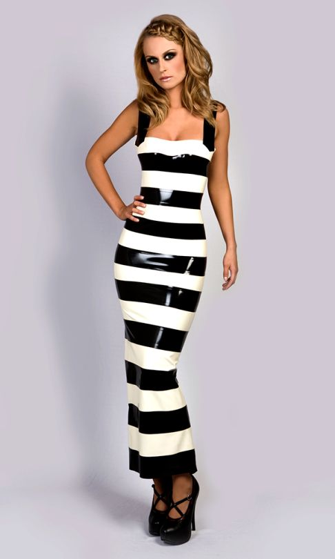 Black and white striped latex long dress