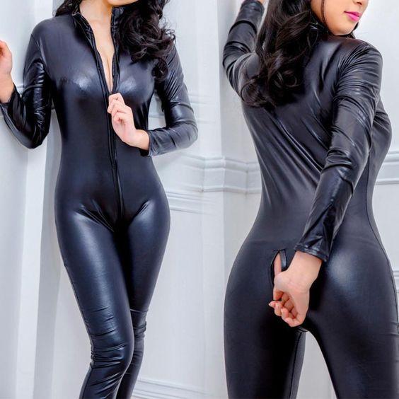Black catsuit spandex fabric