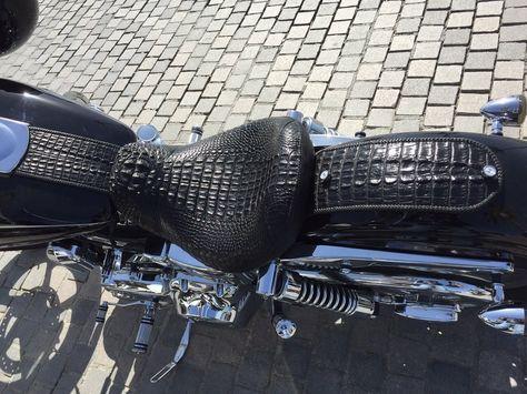 Black crocodile skin for moto seats