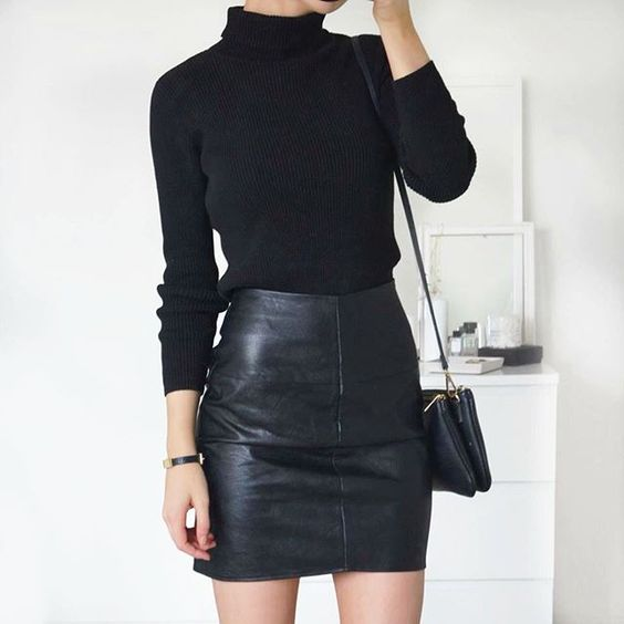 black faux leather fabric for womens skirts.