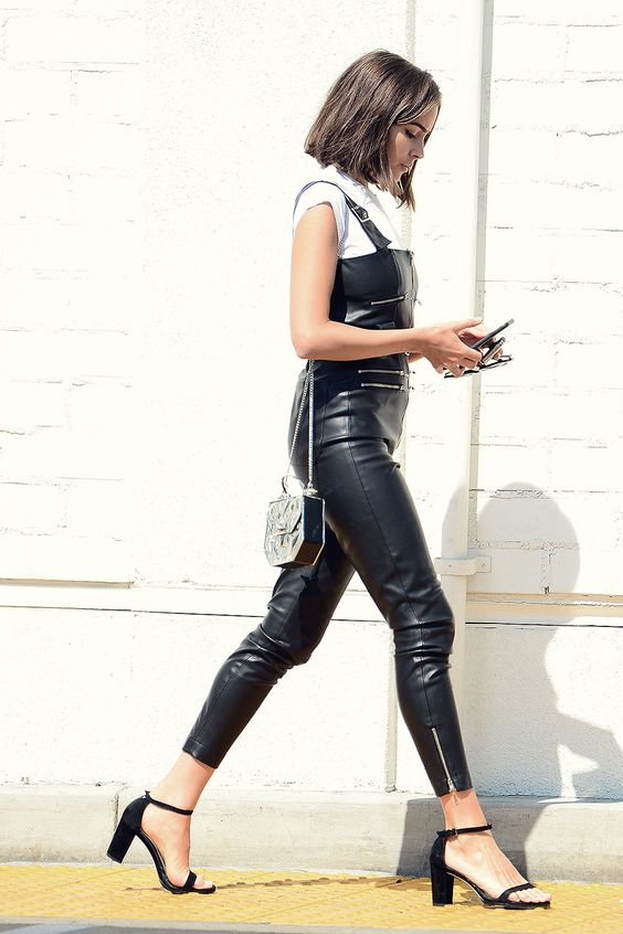 Black faux leather overalls