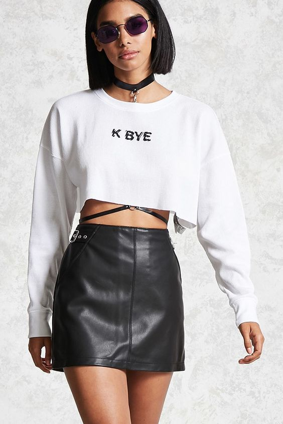 Black faux leather material skirt