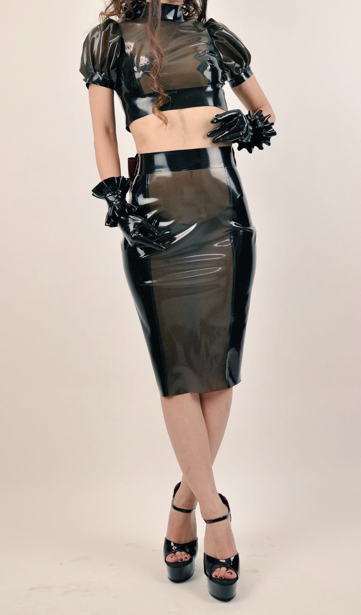 Black latex coord set