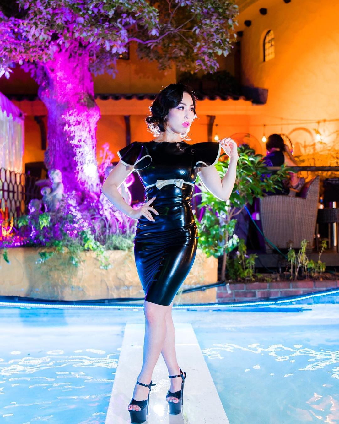 Black latex bodycon dress