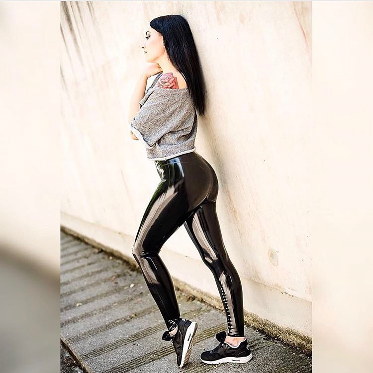 Black latex leggings