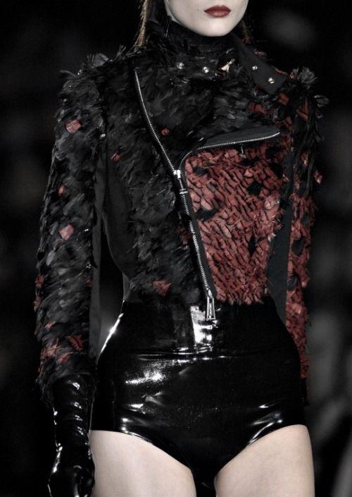 Black latex skirt