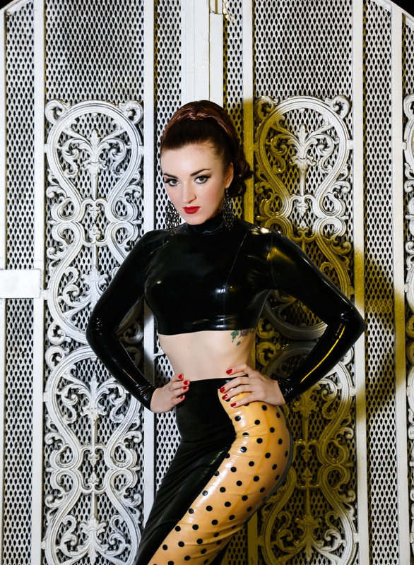 Black latex skirt and top