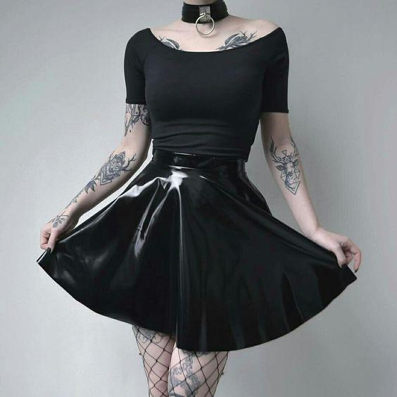 Black latex skater skirt
