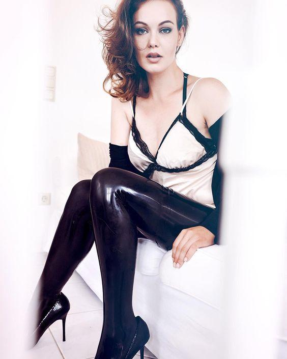 Black latex tights