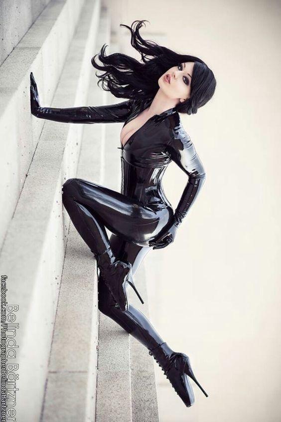 Image Of Black Latex Bodysuit