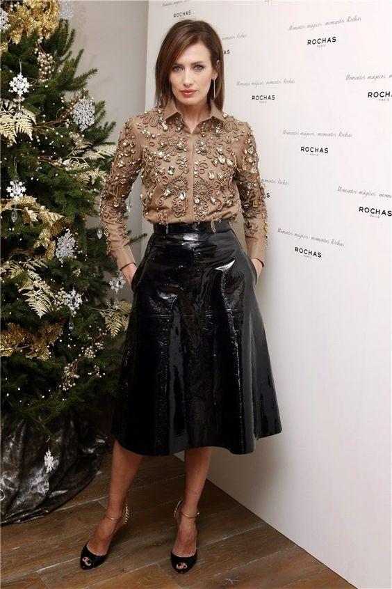 Black PVC skirtBlack patent vinyl A-line skirt