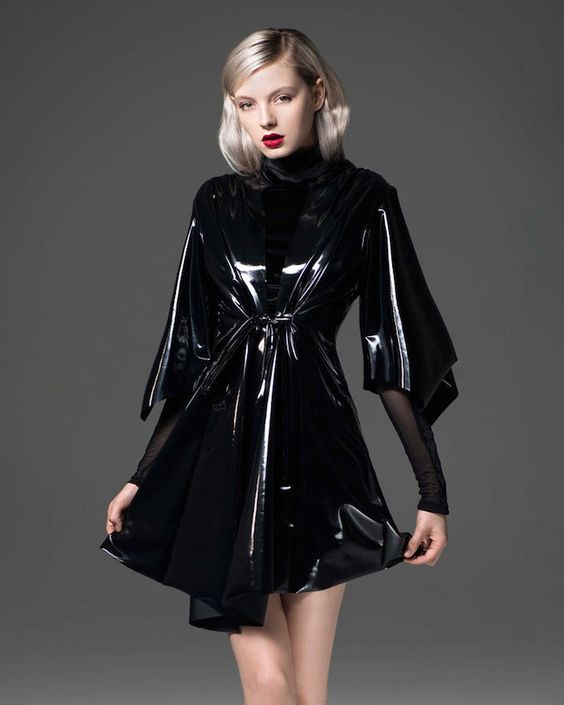 Short black PVC coat