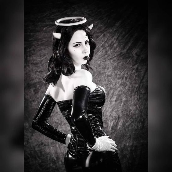 Black PVC strapless dress