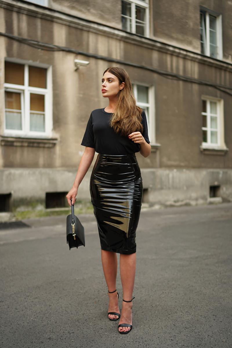 Black PVC skirt