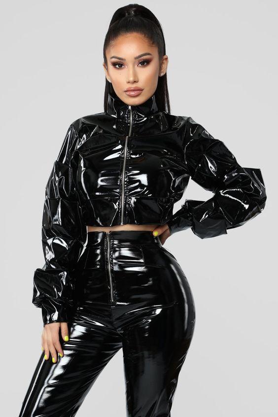 Black PVC pants suit