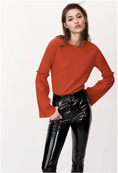 Black PVC high-waisted pants