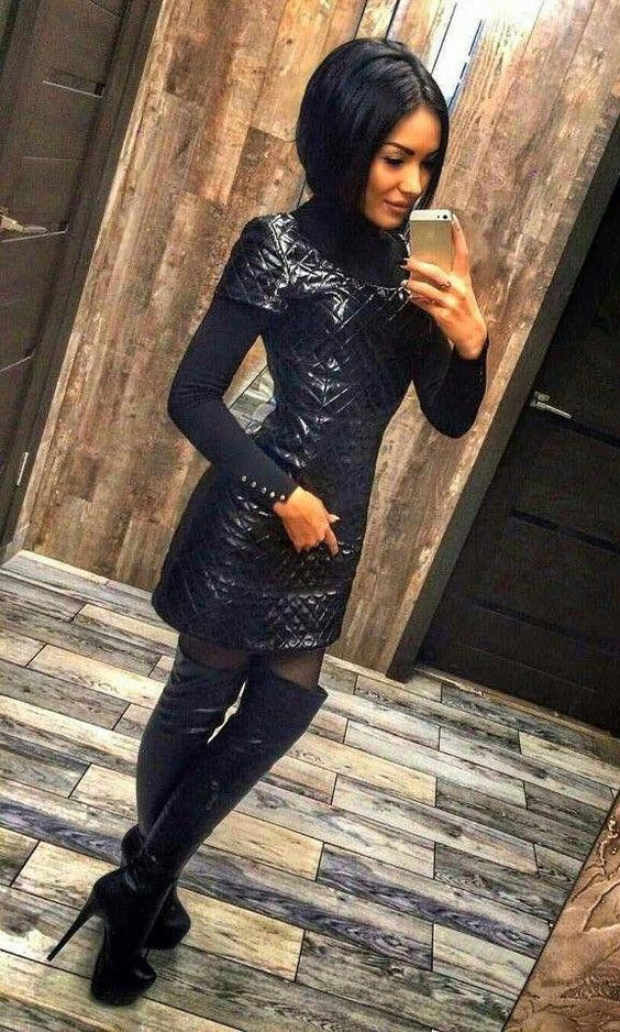 Black quilted leather dress