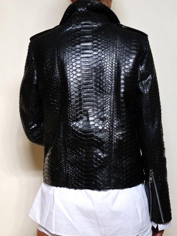 Black snakeskin biker jacket