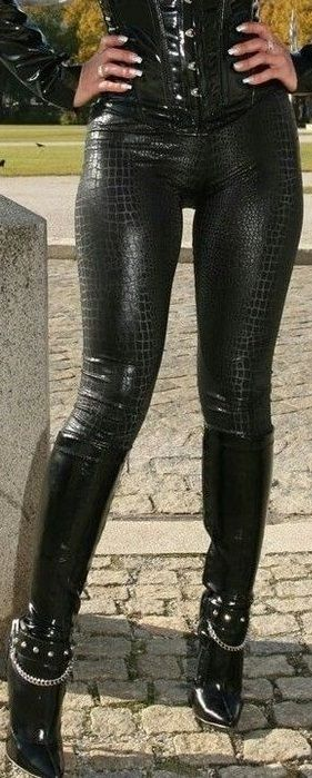 Black snakeskin pants