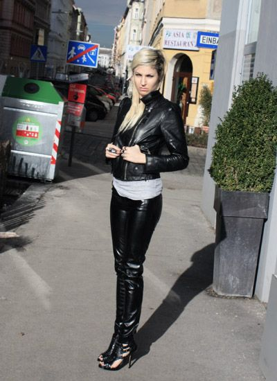 Image Of Black Stretch Vinyl Pants