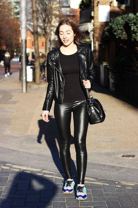 Vegan leather jacket and skinny pants