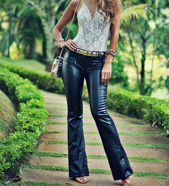 Black vegan leather flared pants