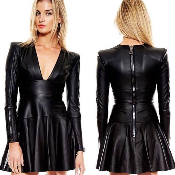 black vegan leather material for dress.jpg