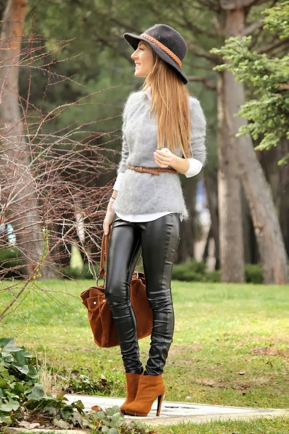 Veggie leather skinny pants