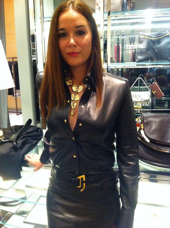 Black veggie leather skirt and shirt
