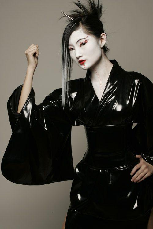 Black vinyl kimono